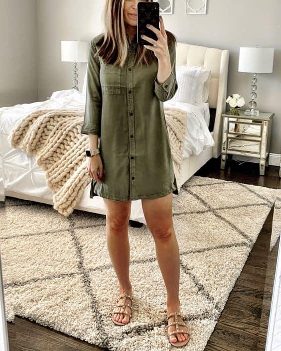 3 look com vestido camisa verde militar e rasteirinha