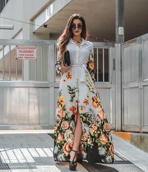 look com chemise longa de estampa floral