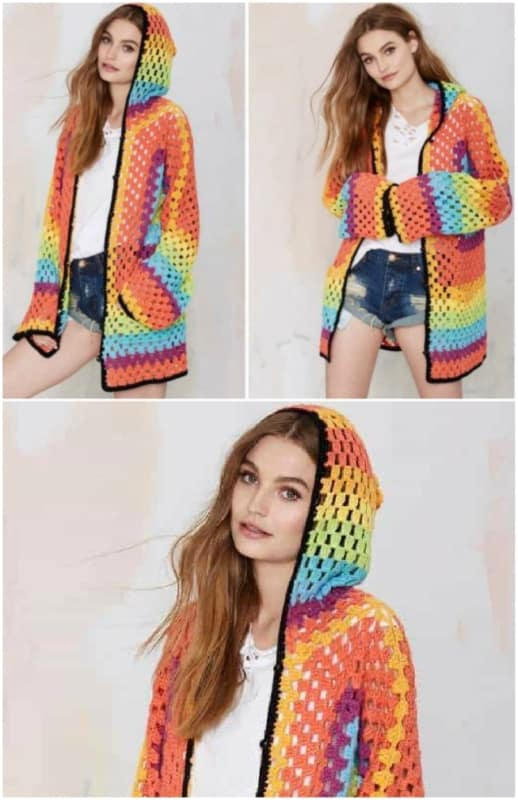 casaco colorido com capuz em crochê
