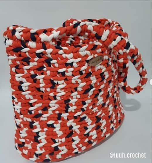 bolsa colorida de fio de malha