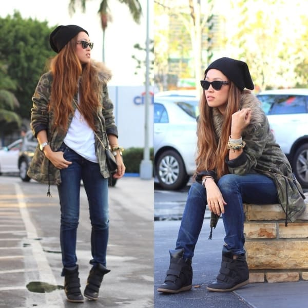 look de inverno com jaqueta parka camuflada