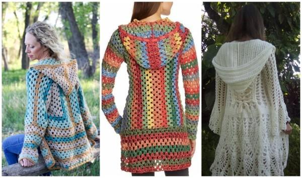 modelos de casaco de crochê com capuz