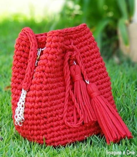bolsa vermelho saco em fio de malha