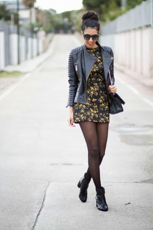 look de inverno com vestido e jaqueta
