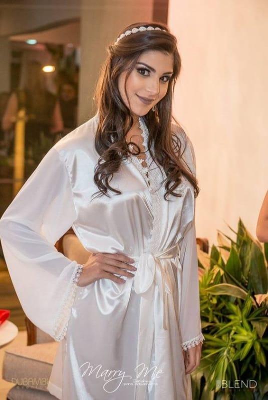robe branco com manga longa para noiva