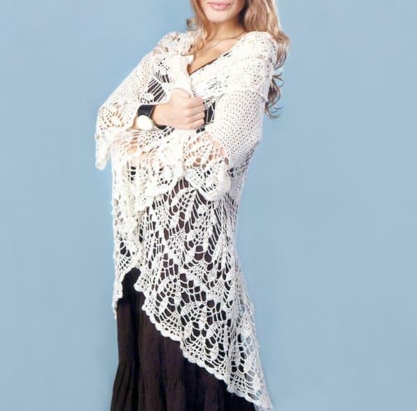 casaco feminino de crochê com babado na manga