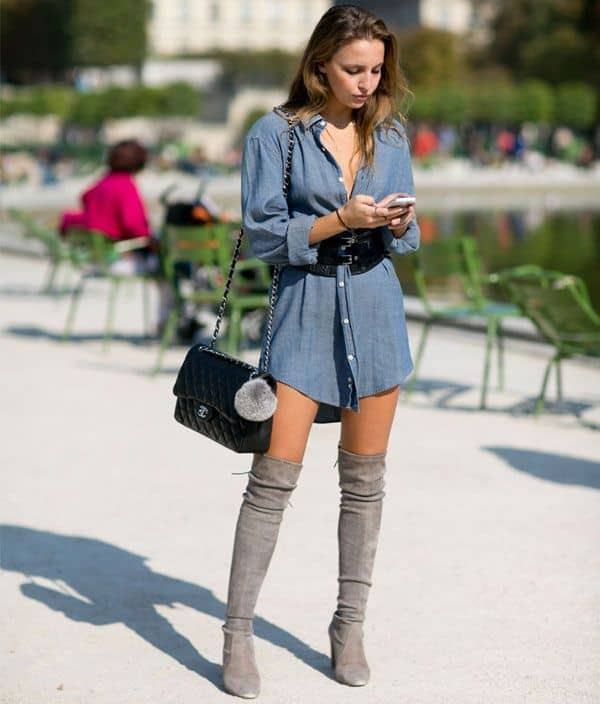 look com camisa vestido jeans e bota over the knee