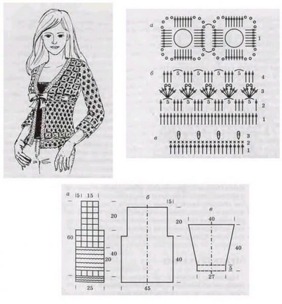 gráfico de casaco de crochê
