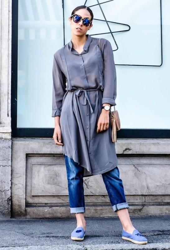 look casual com vestido camisa e calça jeans
