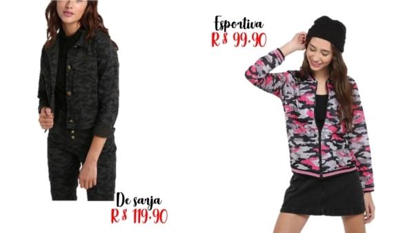 modelos jaqueta camuflada Riachuelo