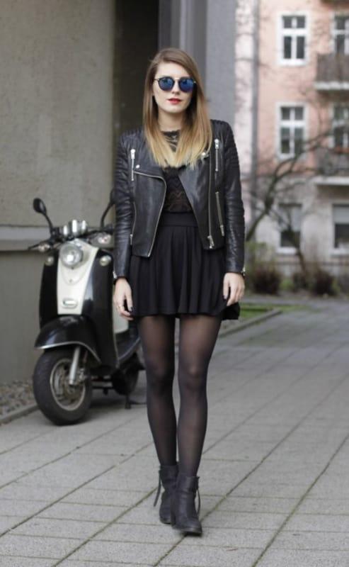 look com saia e jaqueta biker preta