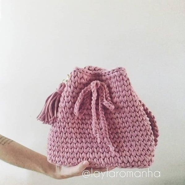 bolsa saco em fio de malha rosa antigo
