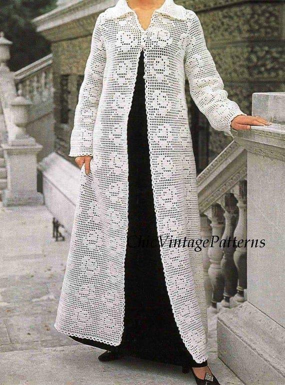 casaco de crochê filé longo