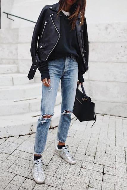 look com calça jeans e jaqueta biker