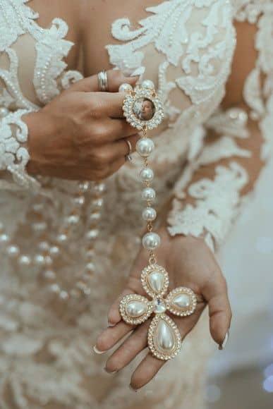 terço para noiva de pérola com foto