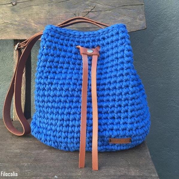 bolsa saco de fio de malha azul
