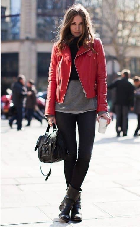 look com jaqueta biker de couro vermelho
