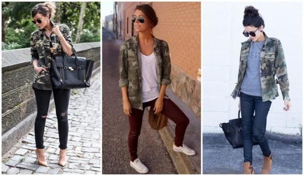looks com calça e jaqueta camuflada