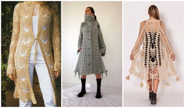 modelos de casaco longo de crochê
