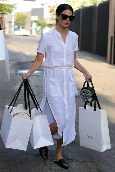 look com chemise branca midi