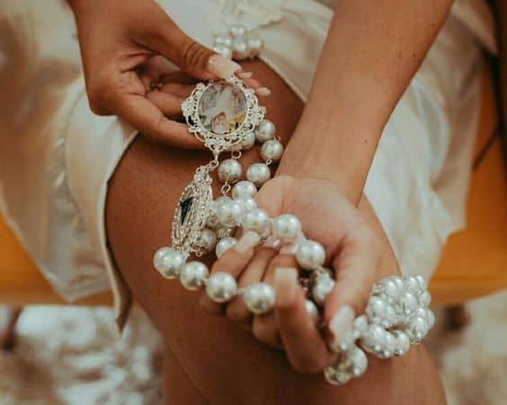 modelo de terço de noiva com foto