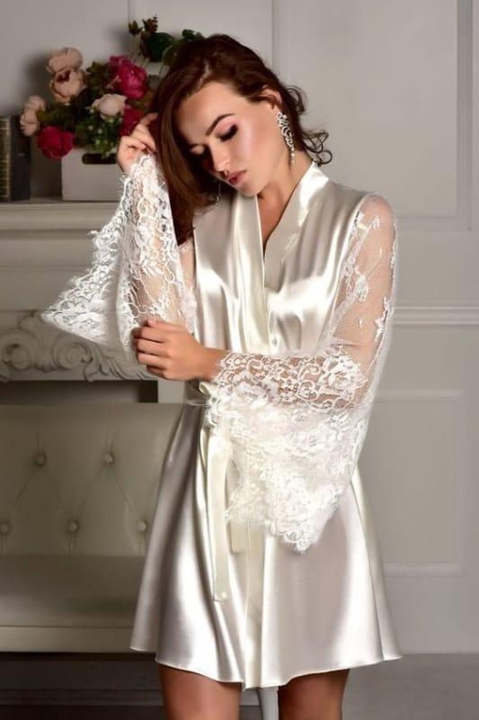 robe de seda com mangas de renda para noiva