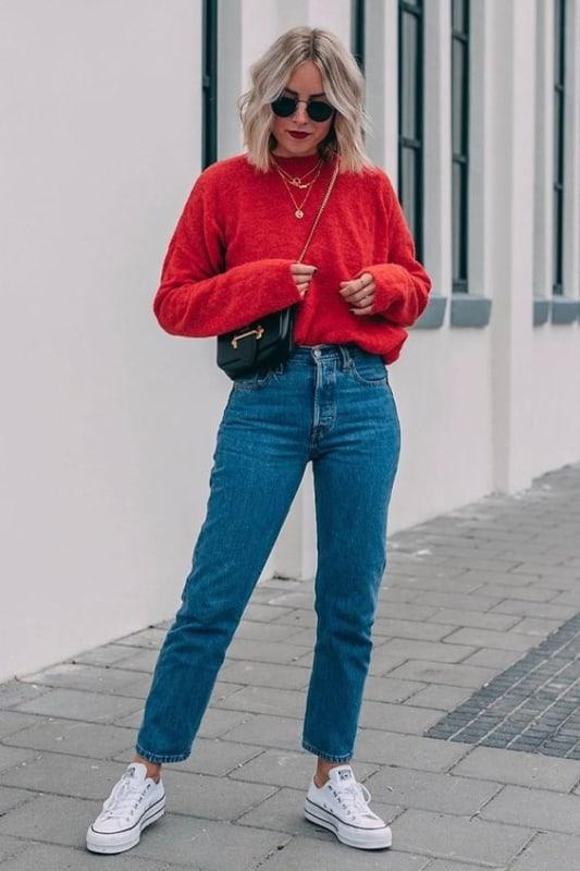 All star e sweater vermelho feminino
