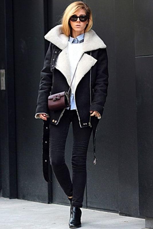 Belo look de jaqueta suede com forro quentinho