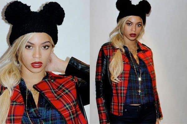 Beyoncé com touca de dois pompons