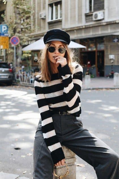 Blusa de lã para o frio em preto e branco