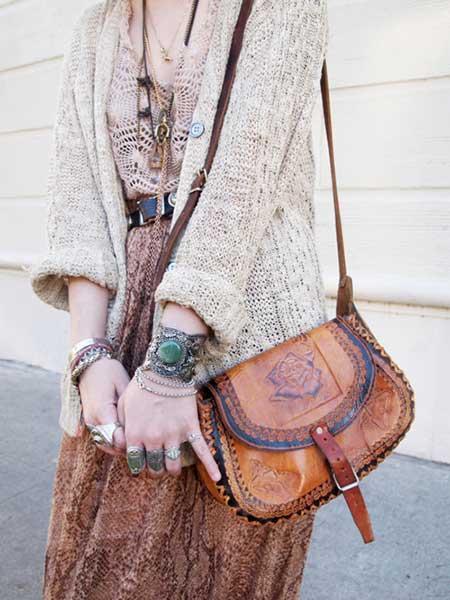 Bolsa de couro hippie