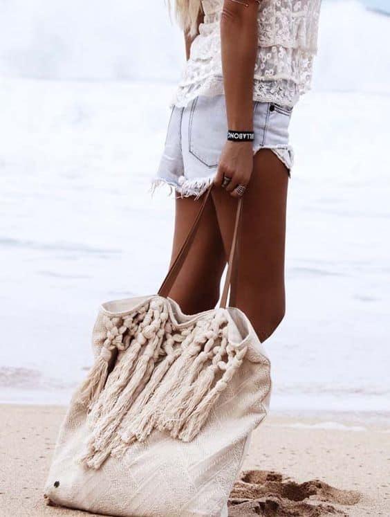 Bolsa de praia tecido