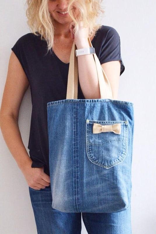 Bolsa jeans feita de calça