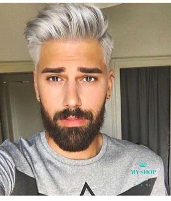 Cabelo cinza e barba escura 1