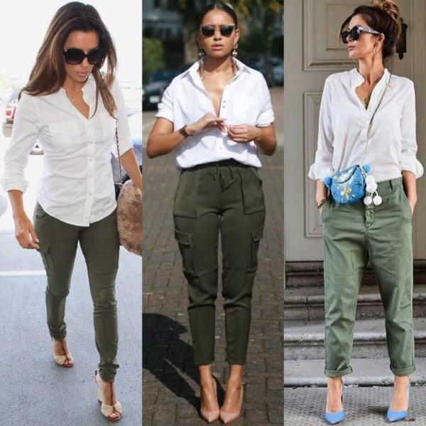 Calça cargo verde militar com camisa branca é um clássico da moda
