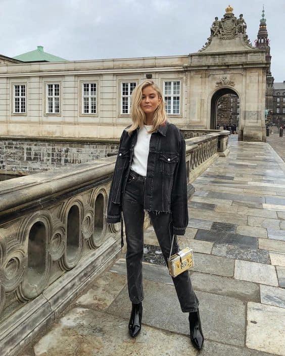 Camisa branca e look jaqueta femina preta jeans
