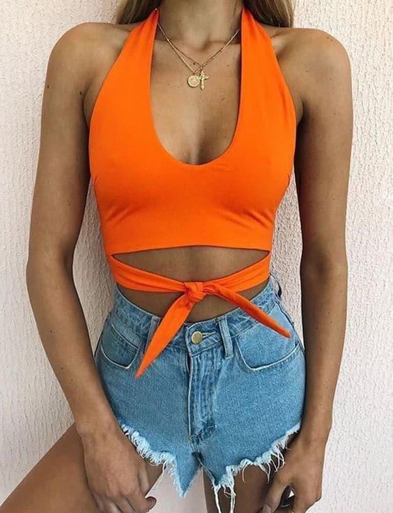 Cropped laranja neon com laço