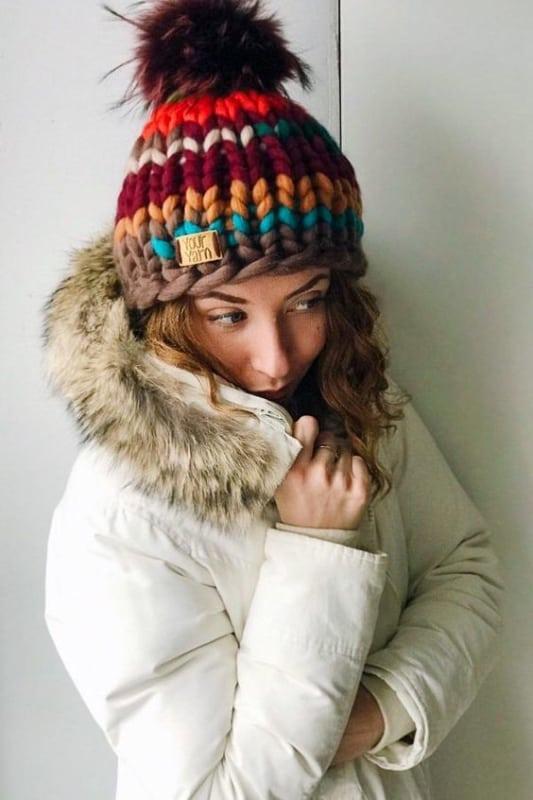 Gorro de maxi tricot feminino