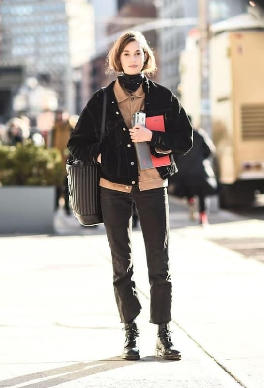 Jaqueta feminina preta Jeans