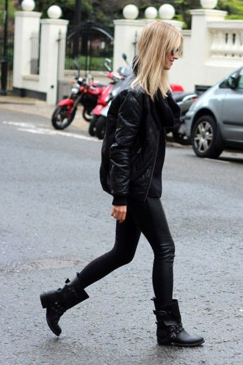 Jaqueta preta feminina de couro estilo bomber