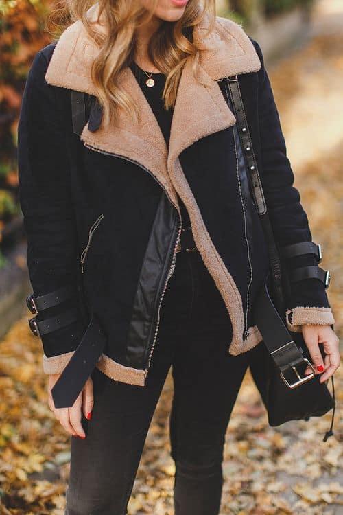 Jaqueta feminina preta suede com forro quentinho