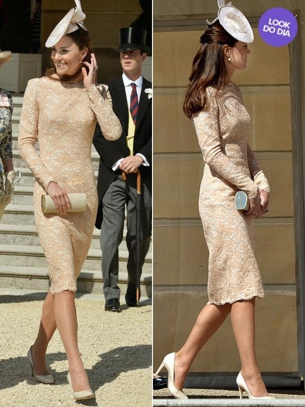 Kate Middleton apostou em modelo midi nude
