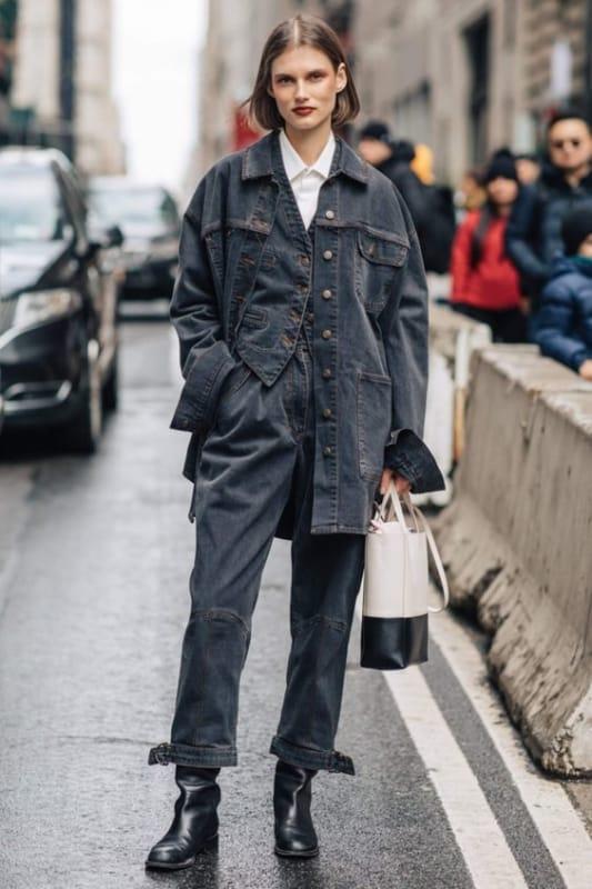 Look all jeans jaqueta e calça