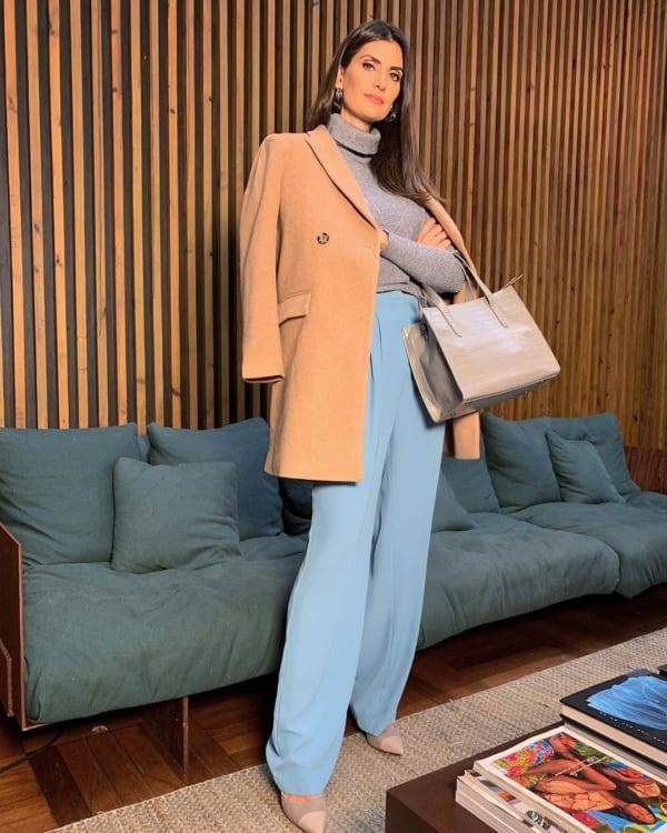 Look bege e azul roupas da moda 54