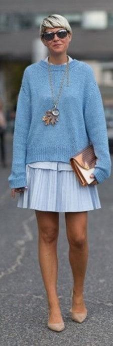 Look bege e azul roupas da moda 58
