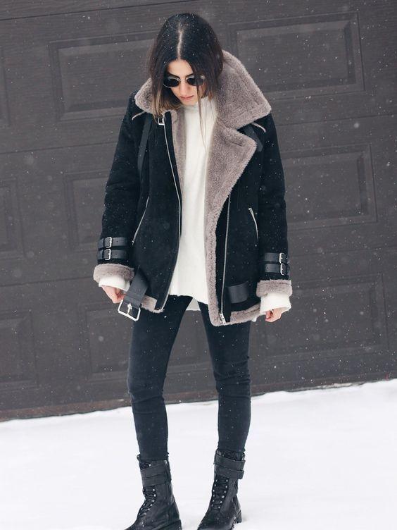 Look com jaqueta preta suede e forro quentinho