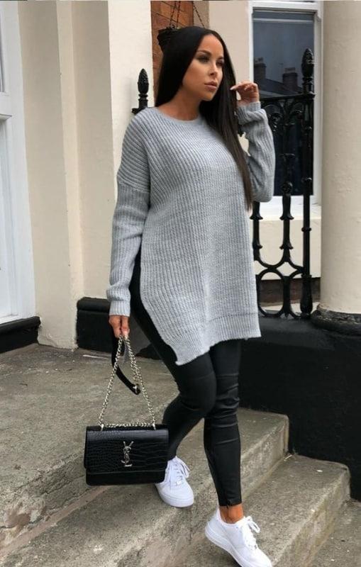 Look com suéter plus size cinza