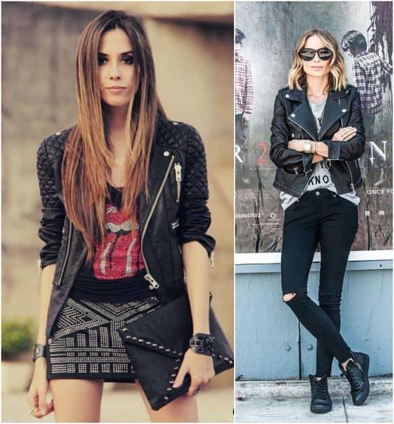 Look rocker com jaqueta de couro preta