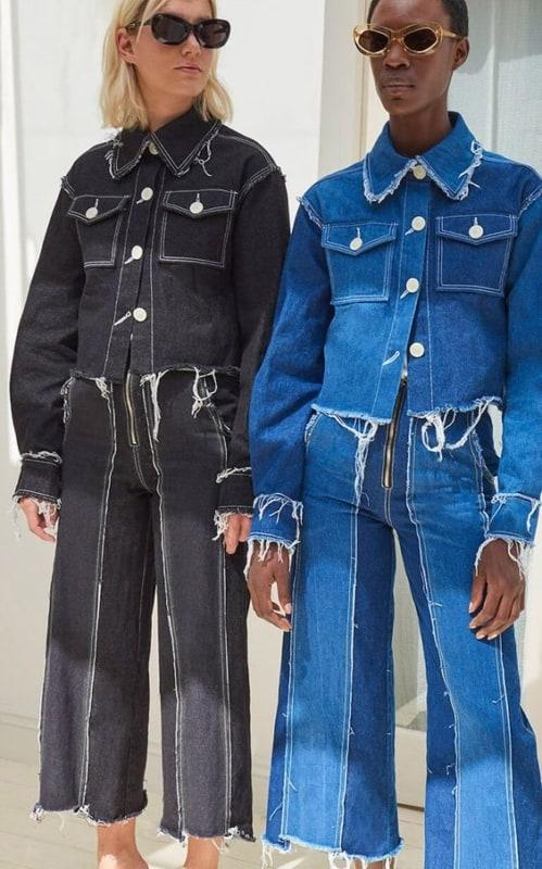 Look todo jeans jaqueta e calça