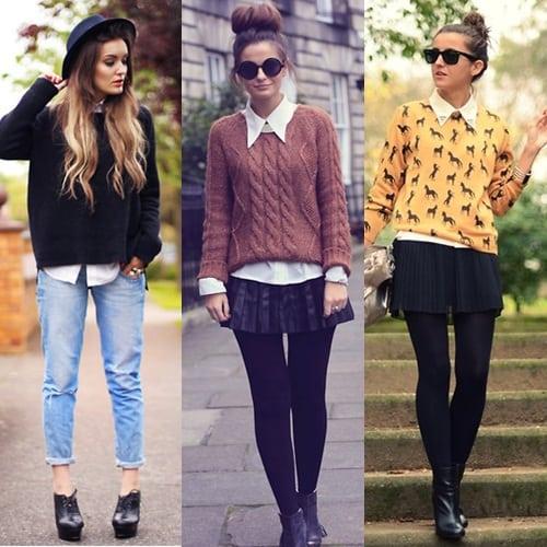 Looks de outono com suéter e camisa